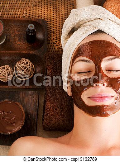 chocolate, máscara, facial, spa - csp13132789