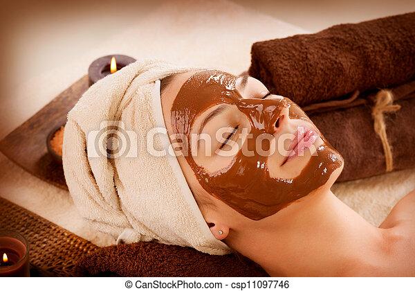 Chocolate Mask Facial Spa. Beauty Spa Salon  - csp11097746