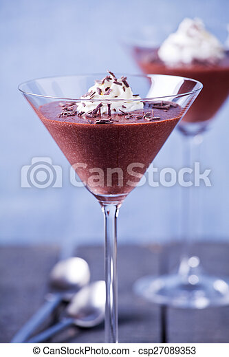 Chocolate Mousse In Glasses - csp27089353