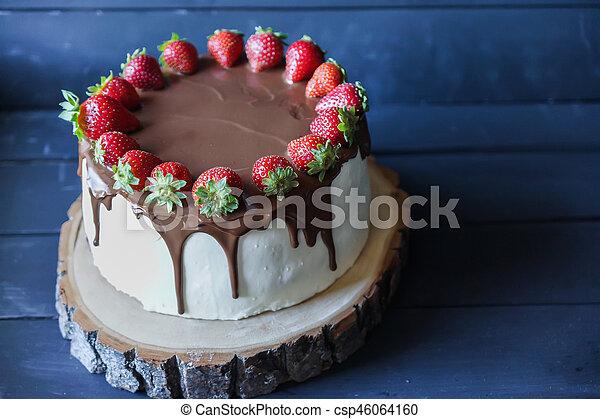 Chocolate Oscuro Decoración Fresa Delicioso Pastel Fresco