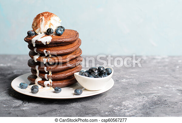 Chocolate Pancakes With Blueberry And Ice Cream On Grey Background Homemade Dessert Sweet Breakfast Chocolate Pancakes