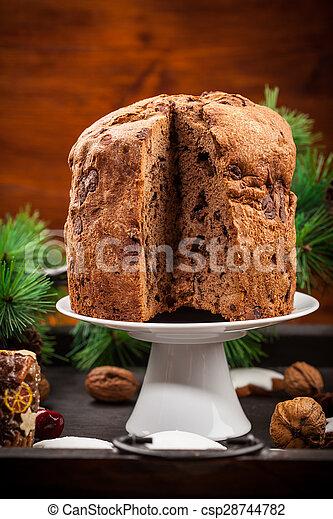 Chocolate panettone cake for Christmas - csp28744782