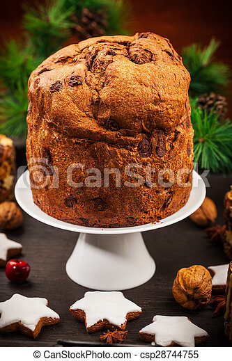 Chocolate panettone cake for Christmas - csp28744755