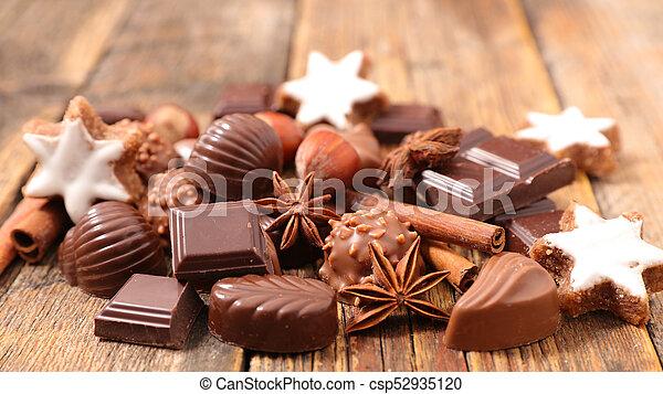 chocolate, praline for christmas - csp52935120