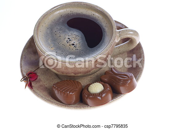 chocolate pralines cup with black coffee on white - csp7795835