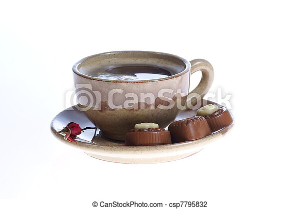 chocolate pralines cup with black coffee on white - csp7795832