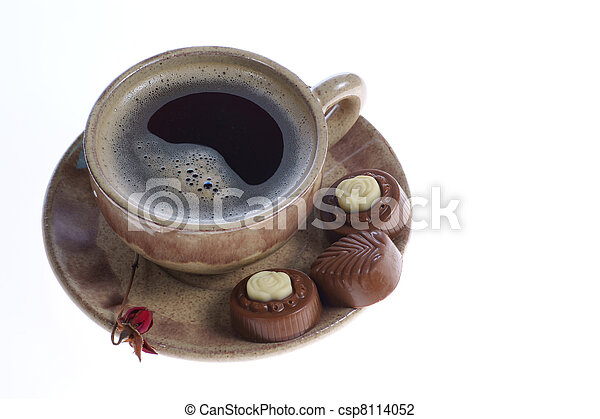 chocolate pralines cup with black coffee on white - csp8114052