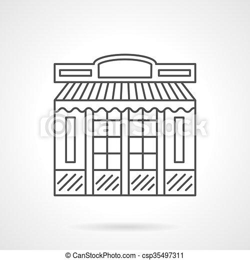 Chocolate shop facade flat line vector icon - csp35497311