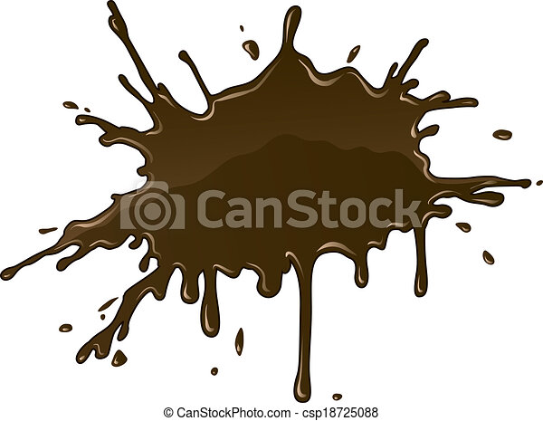 Chocolate splash blot with drops and stain - csp18725088