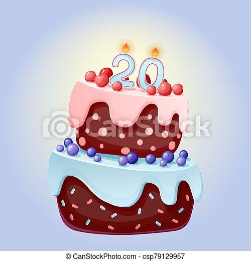 chocolate, vela, 20, año, torta de cumpleaños, aniversarios, caricatura, bayas, cerezas, blueberries., galleta, lindo, número, partidos, festivo, twenty. - csp79129957