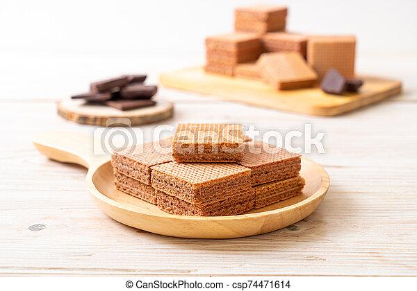 chocolate wafers with chocolate cream - csp74471614