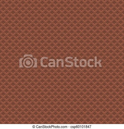 Chocolate Waffle Texture Pattern. Seamless Background. Vector - csp60101847