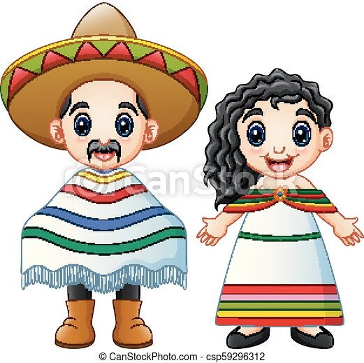 Chodząc, para, kostiumy, tradycyjny, meksykanie, rysunek. Chodząc ...