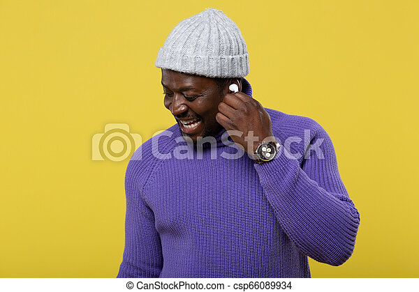 chodząc, portret, rodzaj, słuchawka, wzór - csp66089934