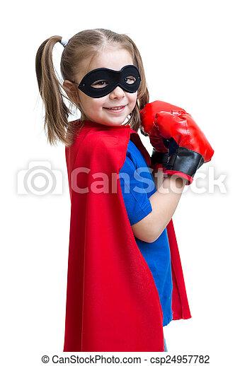 chodząc, superhero, boks rękawiczki, koźlę - csp24957782