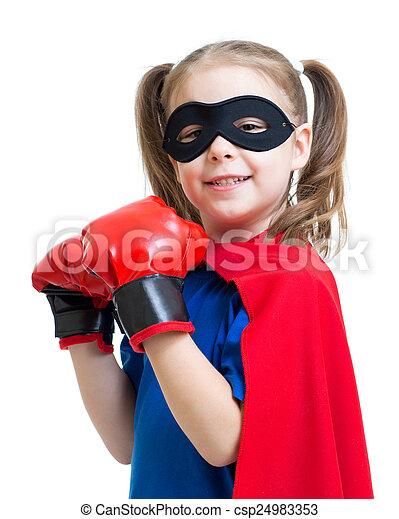 chodząc, superhero, boks rękawiczki, koźlę - csp24983353