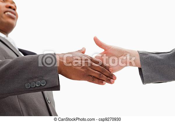 chodzenie, ręka, biznesmen, potrząsanie - csp9270930