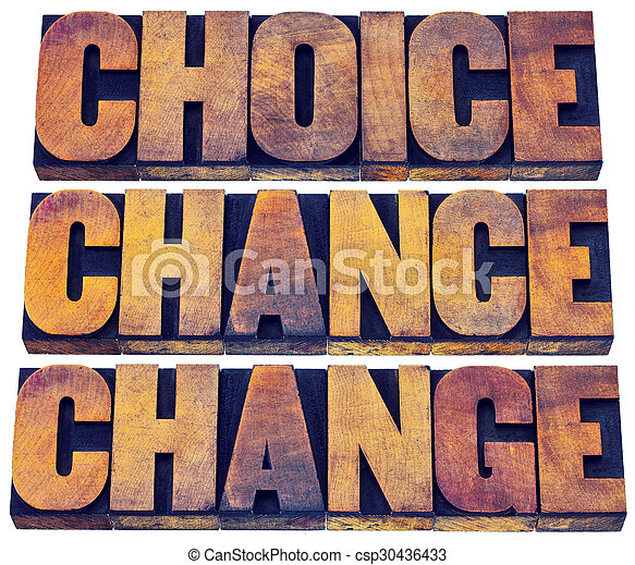 choice, chance and change word abstract - csp30436433