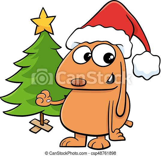 Choinka Rysunek Pies Drzewo Litera Pies Ilustracja Rysunek