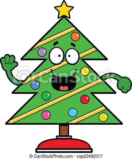 Choinka Rysunek Szczęśliwy Expression Drzewo Ilustracja Boże