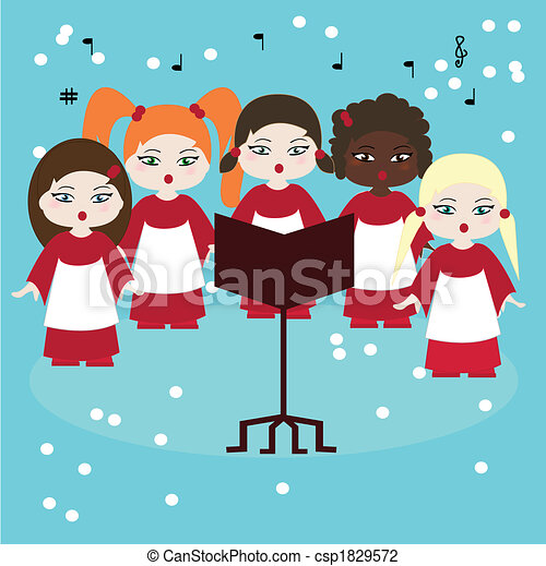 choir singing carols in the snow  - csp1829572