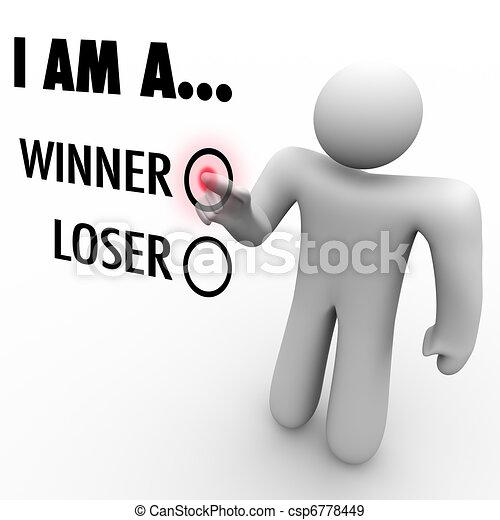 choisir, volonté, réussir, vous, mur, sien, il, mot, loser?, toucher, homme, chooses, soi, croyance, symboliser, écran, gagnant, ou, boîte, confiance - csp6778449