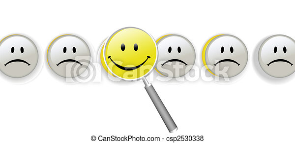 Choose Happiness magnifying glass row of smileys - csp2530338