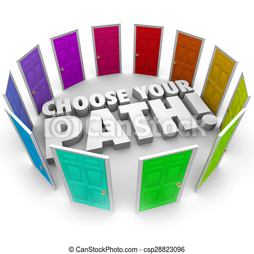Choose Your Path Doors Directions Opportunities Career Job Choose Your Path For Career Job Directions Or Way Forward In Canstock
