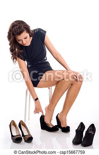 chooses, mulher, sapatos, jovem - csp15667759