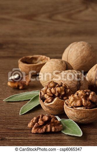 Chopped walnuts. - csp6065347