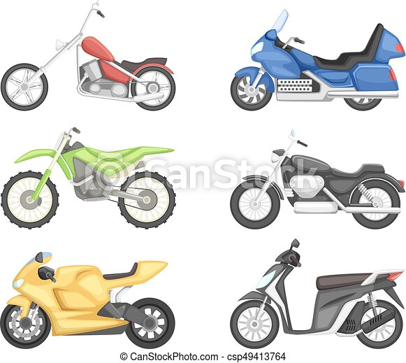 Chopper, cruiser sport bike and others types of motorcycles. Vector illustration set isolate on white background - csp49413764