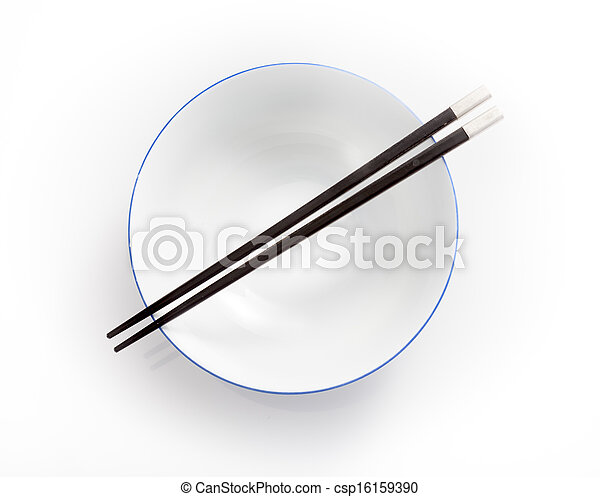 chopsticks in empty bowl isolated on a white background - csp16159390