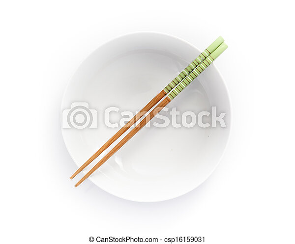 chopsticks in empty bowl isolated on a white background - csp16159031