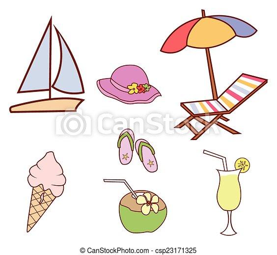 chorągiew, doodle, koło, lato - csp23171325