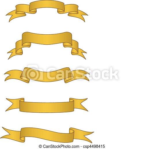 chorągwie, wektor, woluta, złoty - csp4498415