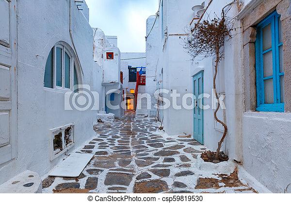 chora, 都市, mykonos, 通り, ギリシャ, 空 - csp59819530