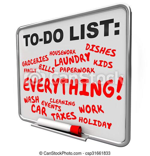 chores, compiti, lavori, elenco, tutto, asse, messaggio - csp31661833
