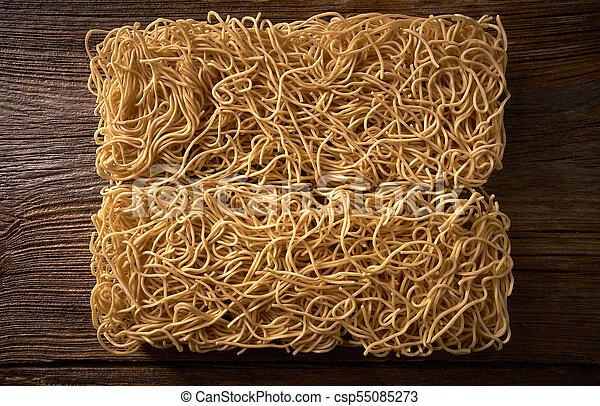 Chow mein noodles asian pasta macro - csp55085273