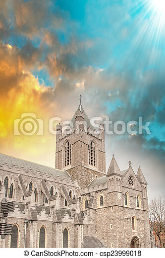 Christ Church Cathedral in Dublin, Ireland at winter sunset - csp23999018