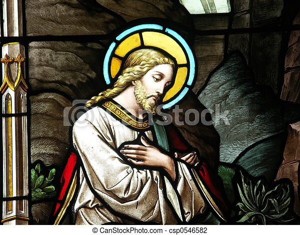 Christ in stained glass - csp0546582