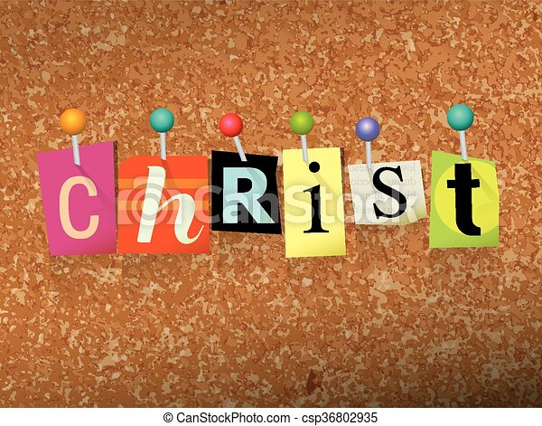 Christ Pinned Paper Concept Illustration - csp36802935
