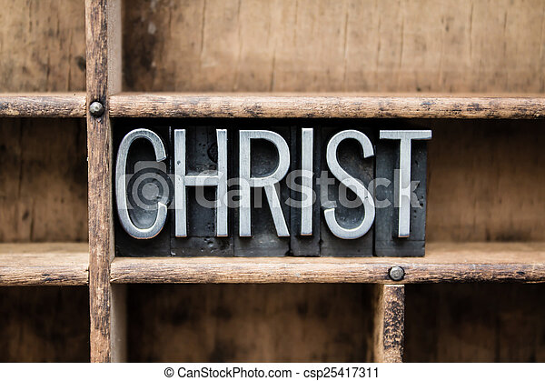 Christ Vintage Letterpress Type in Drawer - csp25417311
