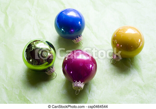 Christamas Ornaments on Green Background - csp0464544