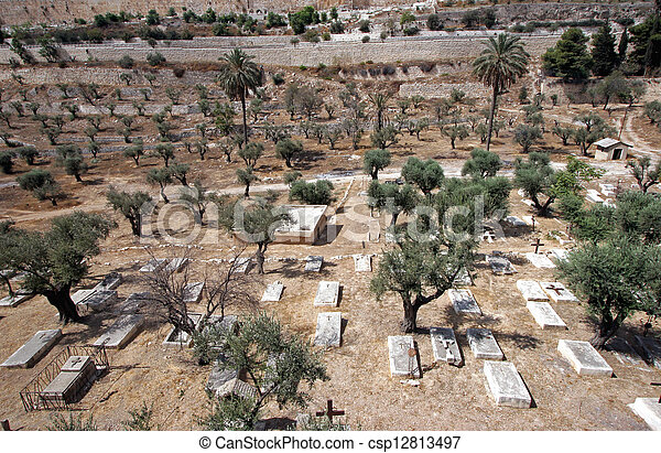 Christian cemetery on the Mount of Olives, in Jerusalem - csp12813497