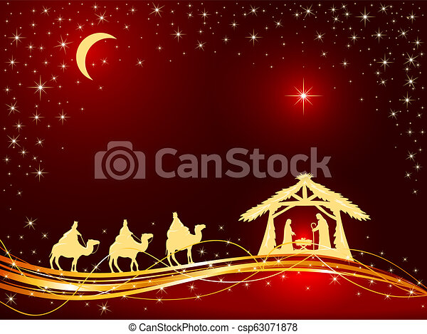 Christmas Background Christian.Christian Christmas Background With Birth Of Jesus And Star