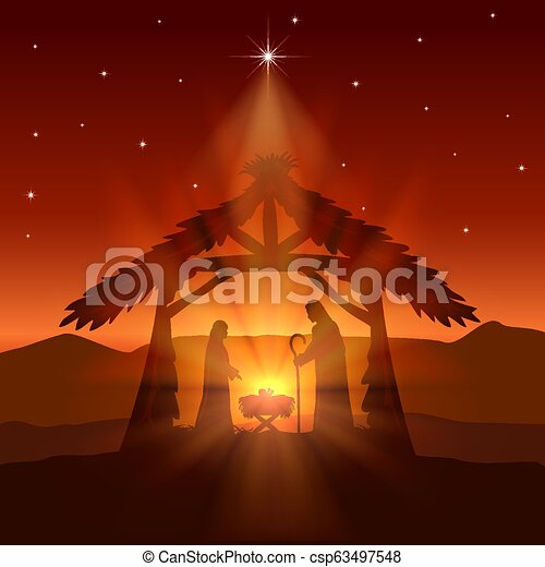 Christian Christmas With Birth Of Jesus And Star On Night Background Holiday Theme Red Christian Background With Christmas