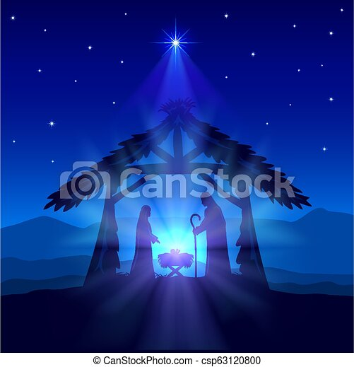 Jesus Christmas Pic.Christian Christmas With Birth Of Jesus And Star On Blue Background