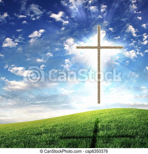 Christian cross against the sky - csp6350376