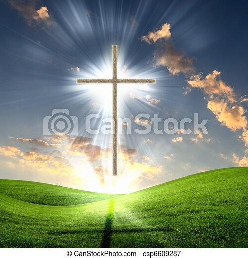 Christian cross against the sky - csp6609287