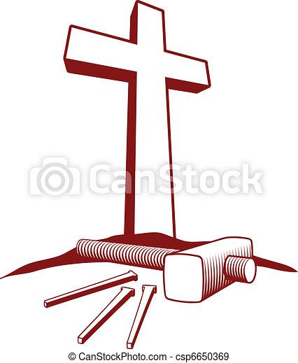 Christian Cross and Hammer - csp6650369